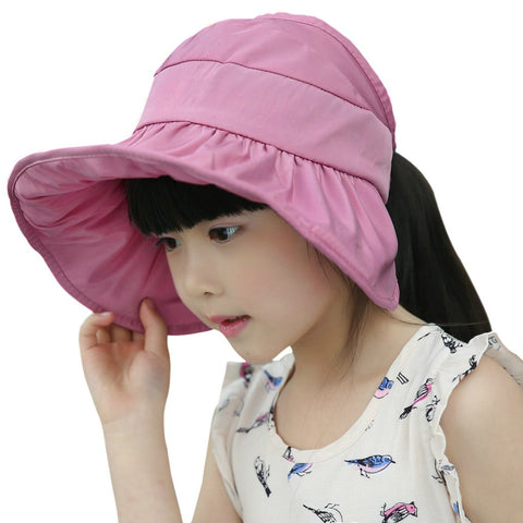 Girls Boys Floppy Packable Sun Hat Baby Kids Adjustable Big Brim Anti-UV Sun Protection Bucket Hat (Purple Pink)