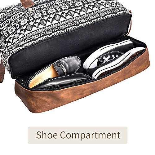 Overnight Travel Carry On Duffel Tote with Shoe Pouch Black MyMealivos Canvas Weekender Bag