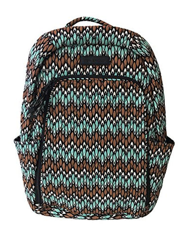 Vera Bradley Laptop Backpack (Updated Version) with Solid Color Interiors (Sierra Stream with Black Interior)