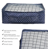 Vercord 7 Set Travel Packing Organizers Cubes Mesh Luggage Cloth Bag Cubes With Bra/Underwear Cube and Shoe Pouch, Dark Blue Dots