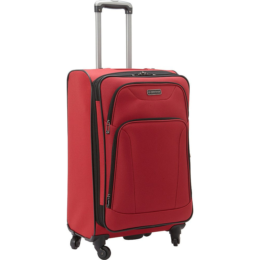 "Heritage Travelware Wicker Park 24"" 600d Polyester Expandable 4-Wheel Checked Luggage, Red"