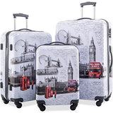 Flieks Graphic Print Luggage Set 3 Piece Abs + Pc Spinner Travel Suitcase (London)