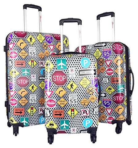 3Pc Luggage Set Hardside Rolling 4Wheel Spinner Carryon Travel Case Poly Signs