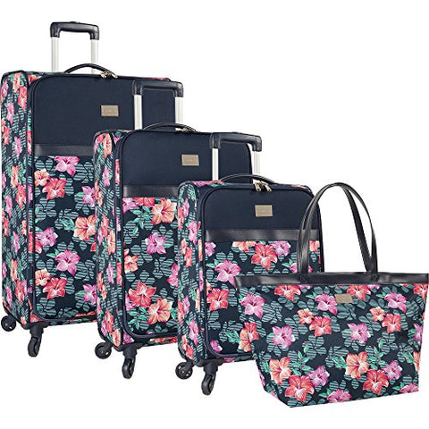 Tommy Bahama 4 Piece Lightweight Expandable Luggage Suitcase Set, Hibiscuss Print