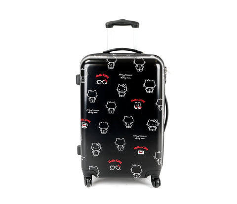 "SANRIO Hello Kitty 26"" Rolling Suitcase: Red Logo"