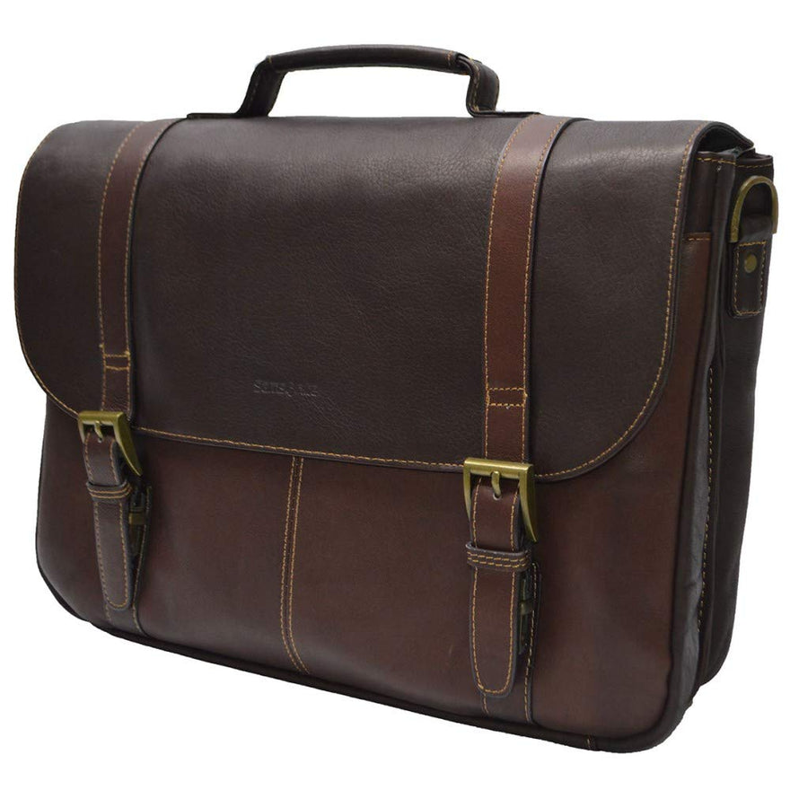 Samsonite Genuine Leather Flapover Buckle Brief Brown