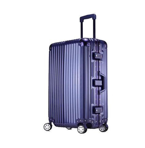 Trolley Suitcase, Caster Suitcase Trolley Suitcase, Retractable Suitcase, Hard-Shell Suitcase With Tsa Lock And 4 Casters, Blue, 22 inch