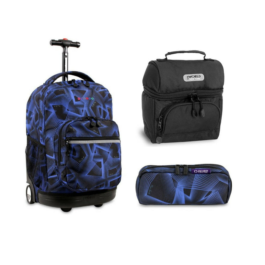 J World New York Sunrise Rolling Backpack Back To School Set w/Pencil Case & Lunch Bag (Disco)