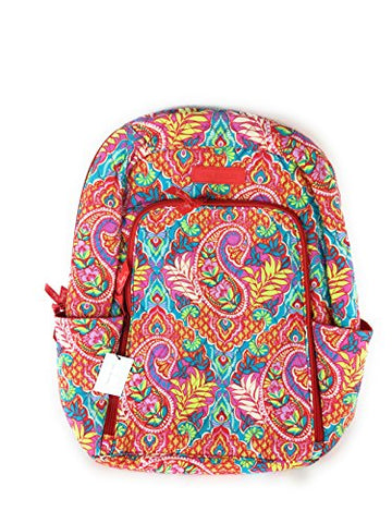 Vera Bradley Laptop Backpack Quilted Cotton Paisley in Paradise,Large