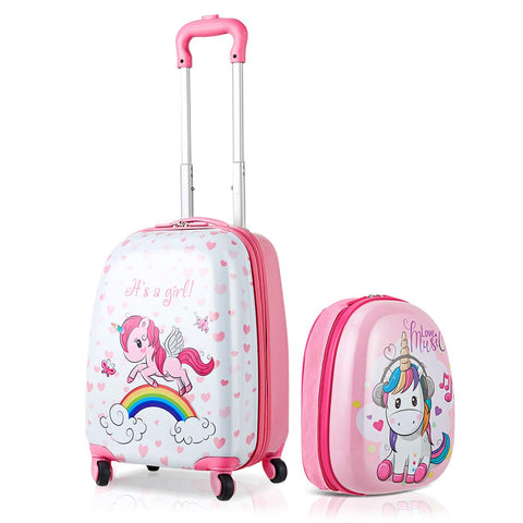 HONEY JOY 2Pc Kids Luggage Set, 12'' Backpack & 16'' Rolling Suitcase, Hard Shell Trolley Suitcase with Spinner Wheels, Carry On Luggage Set for Boys and Girls Travel (Unicorn)