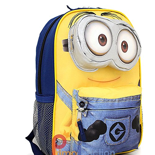 "Despicable Me Minion Large School Backpack 16"" Bag 3D Eye Pocket"