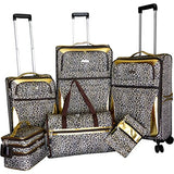 "Lightweight Polycarbonate Winter Leopard 29"" Hardside Spinner Upright Suitcase"