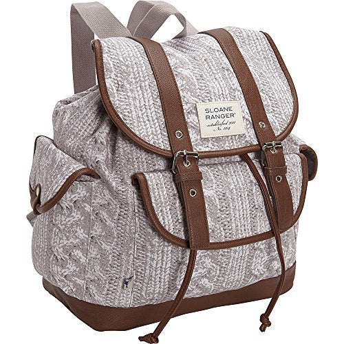 Sloane Ranger Cable Knit Design Slouch Backpack