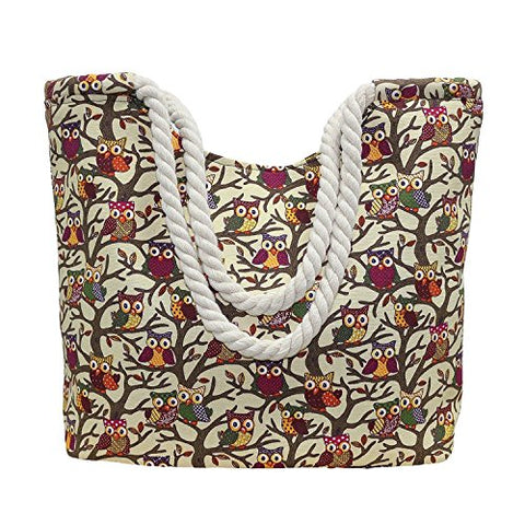 Bibitime Print Owl Shopping Tote Handbag Beach Bag With Braided Spiral Straps (17.72 14.17 5.51 In,