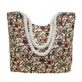 BIBITIME Print Owl Shopping Tote Handbag Beach Bag with Braided Spiral Straps (17.72 14.17 5.51 IN, Beige)