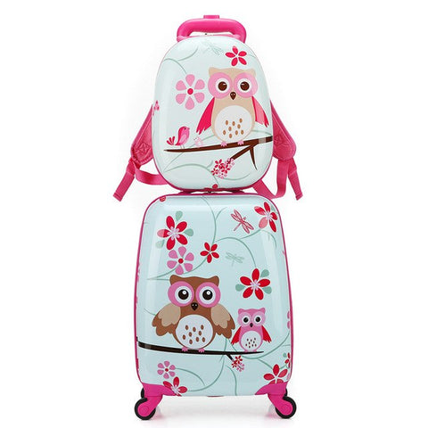 Letrend Cartoon Cute Animal Kids Rolling Luggage Set Spinner Children Suitcases