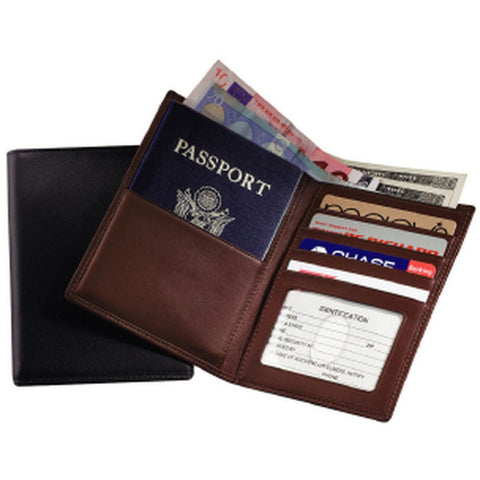 Royce Leather RFID Blocking Bifold Passport Currency Travel Wallet