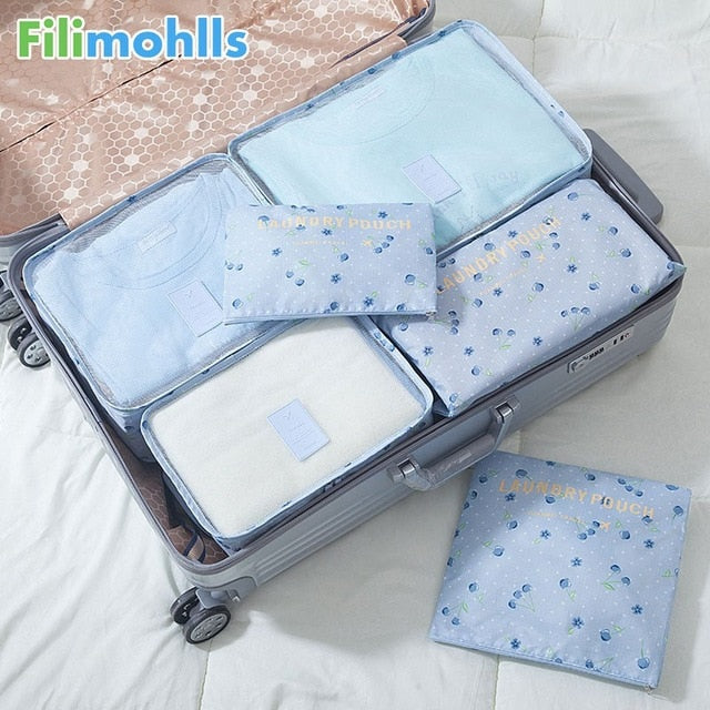6PCS/Set High Quality Nylon Cloth Travel Mesh Bag Luggage Organizer Packing Cube Organiser Travel