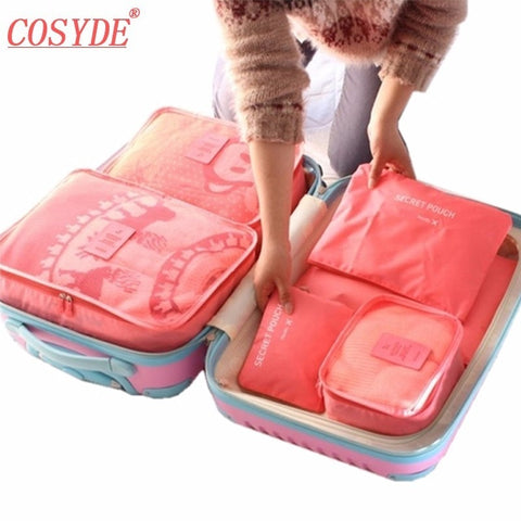 6PCS/Set High Quality Oxford Cloth Travel Mesh Bag In Bag Luggage Organizer Packing Cube