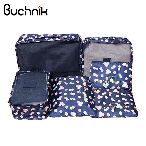 6Pcs Travel Bags Set Portable Packing Cube Women's Men's Clothes Luggage Sorting Storage Pouch