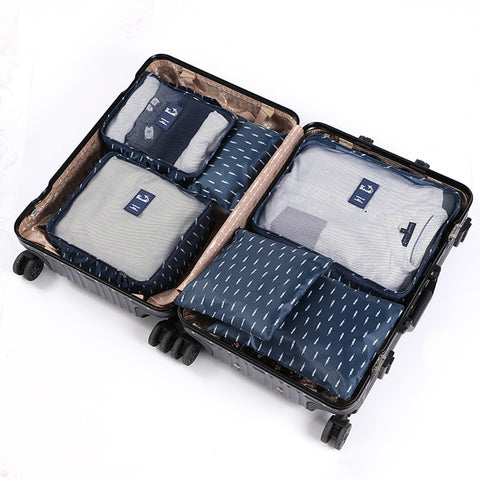 6pcs Packing Cubes Travel Bags Set Unisex Clothing Cosmetics Shoes Data line Sorting Organizer