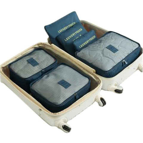 6pcs/set Fashion Double Zipper Waterproof Polyester Packing Cubes Men And Women Luggage Travel Bags