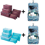 6pcs/set Nylon packing cube large capacity double zipper Waterproof bag Luggage Clothes Tidy