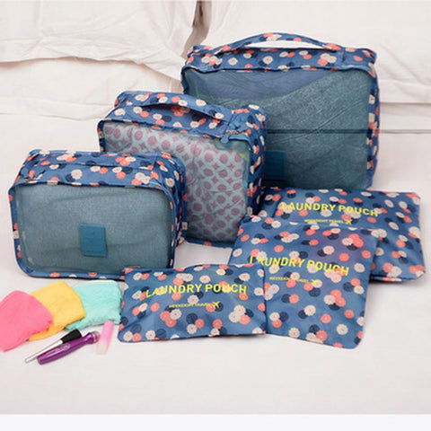6pcs/set Waterproof Women Men Travel Fashion zipper Bags High Capacity Luggage Clothes Tidy