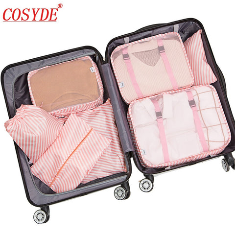 7 PCS/set Waterproof Oxford Travel Packing Cubes Large Capacity Multi Function Luggage Mesh Clothes