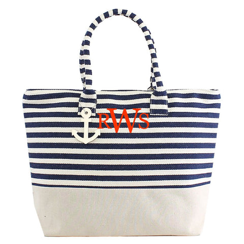 Navy Monogrammed Large Zipper Top Stripe Canvas Look Beach Bag Tote