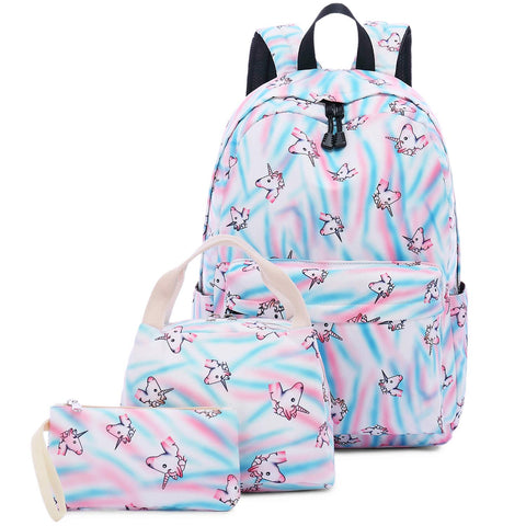 Abshoo Cute Lightweight Teens School Bookbags Unicorn Girls Backpacks With Lunch Bag (Unicorn Rainbow Blue Set)