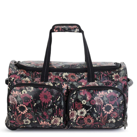 Sakroots Women's New Adventure Rolling Duffel Bag, Graphite In Bloom, One Size