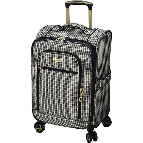 "London Fog Softside 20"" Spinner, BLK Tan Plaid"