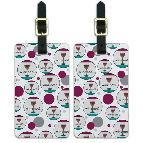 Luggage Suitcase Carry-On ID Tags Set of 2 - Celebration Party Shower - Wine Not