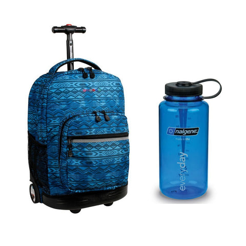 J World Combo Sunrise Rolling Backpack and Nalgene Wide Mouth Water Bottle Back to School Set (Water Mark w/Blue)