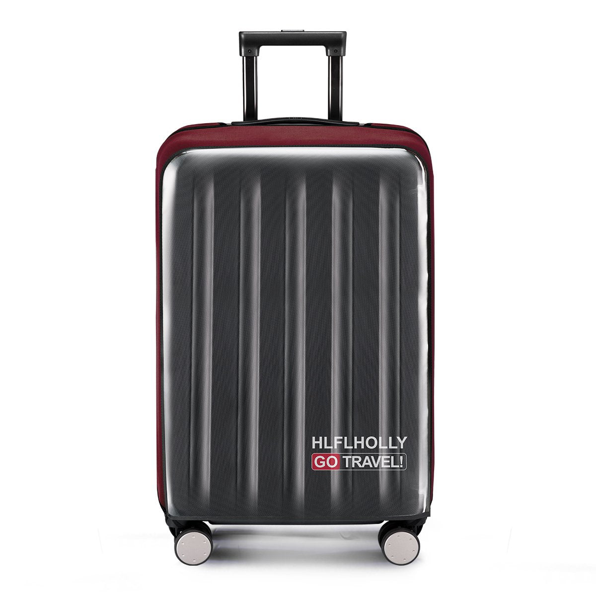 "Removing-Free Travel Luggage Cover Suitcase Protector Fits 24 Inch Luggage Fits 20""22""24""26""28""30"" Inch(Elastic cloth+Clear pvc)24"",Wine Red"