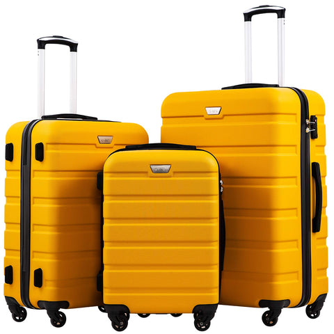 Coolife Luggage 3 Piece Set Suitcase Spinner Hardshell Lightweight TSA Lock 4 Piece Set (Yellow)