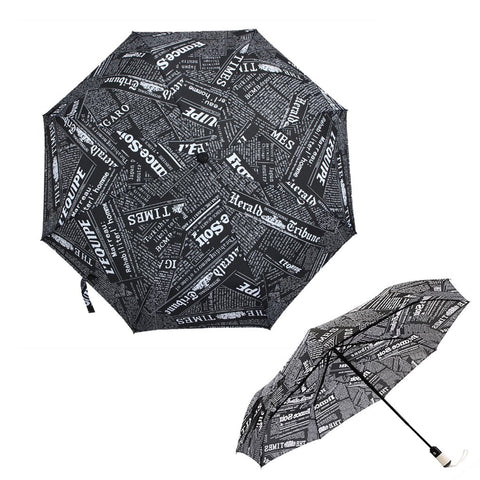 FakeFace Creative Newspaper Ultraslim Compact Triple Folding Automatic Umbrella Super Windproof Strong Rib Auto Open & Close Travel Anti-UV Rain Sun Umbrellas UV Protection Parasol