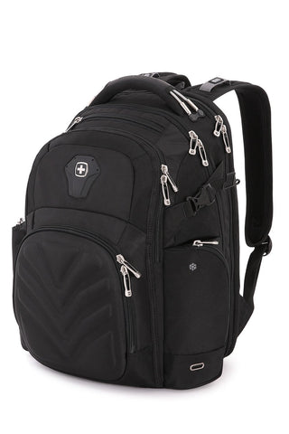 SwissGear 5709 ScanSmart Laptop Backpack. Abrasion-Resistant & Travel-Friendly School Work premium Laptop Backpack (Black Backpack)