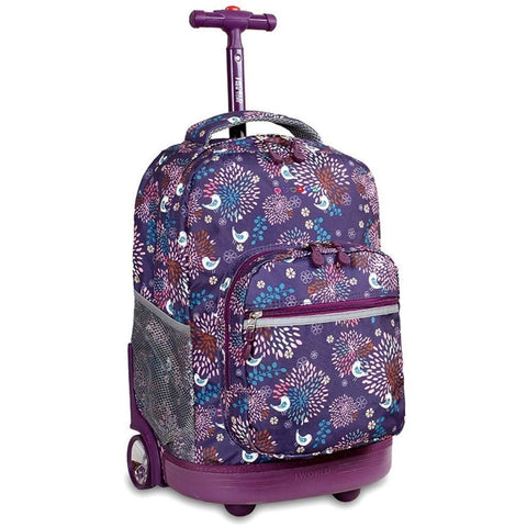 J World New York Sunrise Rolling Backpack, Baby Birdy, 18-Inch