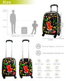 Lttxin cute kids suitcase pull along girls travelling with 4 wheel hard shell 18 inch for girl owl