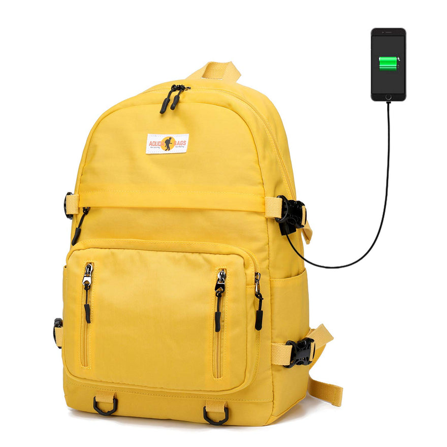 Laptop School Backpack for Men Women, USB Charging Bookbag Fits 14 inch Laptop