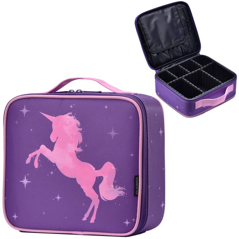 Joligrace Unicorn Makeup Bag Travel Cosmetic Leather Organizer Makeup Train Case with Adjustable Dividers Portable Make Up Storage for Girl Jewelry Accessories - Purple