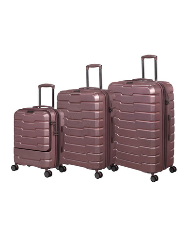 it luggage Prosperous 3 Piece Hardside Expandable Set with TSA Lock, Metallic Pink