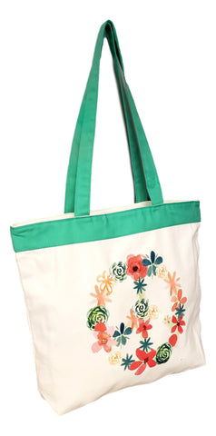 Floral Peace Sign Eco Friendly Beach or Carry All Shopping Zipper Top Tote Bag