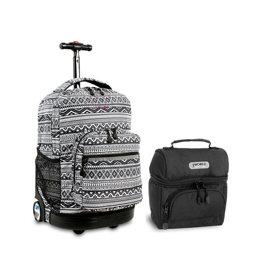 J World Combo Rolling Backpack & Lunch Bag Back to School Bundle Set Sunrise/Corey (Tribal and Black)
