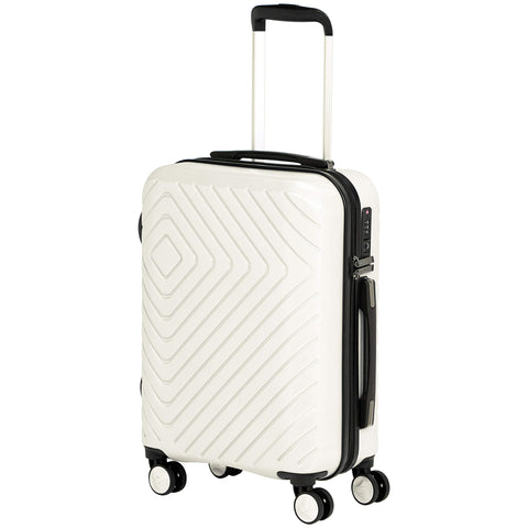 AmazonBasics Geometric Luggage 18-inch international carry-on, Cream