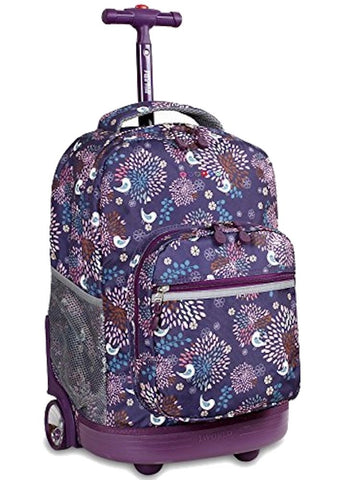 J World New York Sunrise Rolling Backpack, Baby Birdy