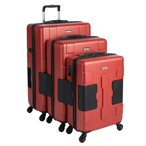 TACH TUFF 3-Piece Hardcase Connectable Luggage & Carryon Travel Bag Set | Rolling Suitcase with Patented Built-In Connecting System | Easily Link & Carry 9 Bags At Once (wine red)