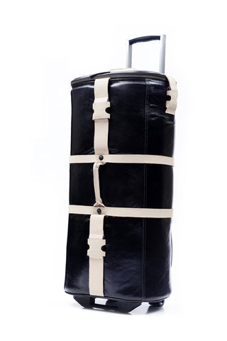 12 Bottles Leather Wine Luggage (Black & Tan)
